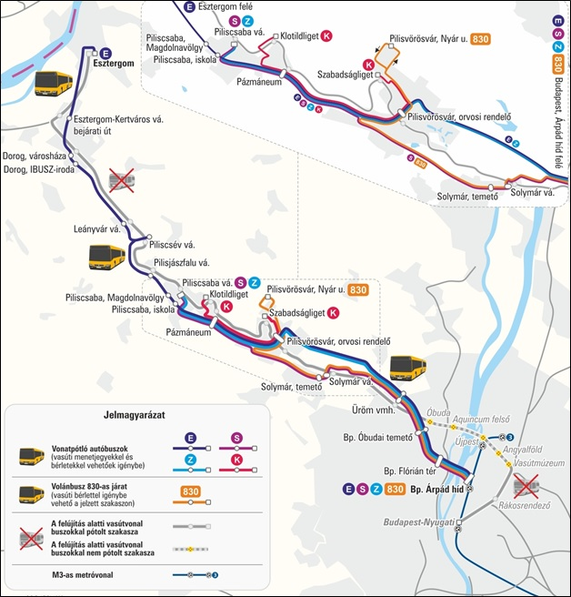 vonat, Esztergom, Budapest, járat, vasút, vágányzár, pályafelújítás,