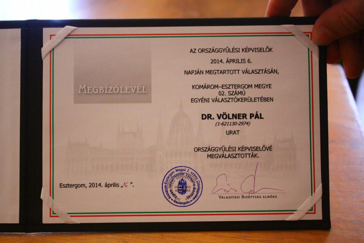 Hivatalosan is Völner Pál az esztergomi választókörzet országgyűlési képviselője