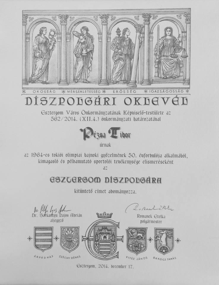 Esztergom díszpolgára, Pézsa Tibor